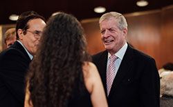 President Joseph Polisi greeting members of the Augustus Juilliard Society.